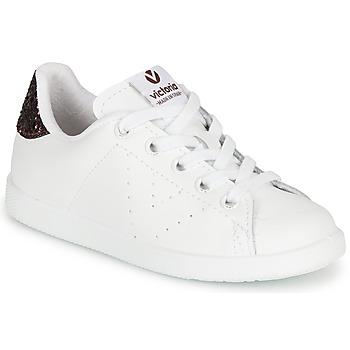kengät Tytöt Matalavartiset tennarit Victoria TENIS PIEL White / Bordeaux