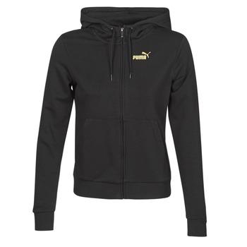 vaatteet Naiset Ulkoilutakki Puma METALLIC FZ HOODY TR Musta / Kulta