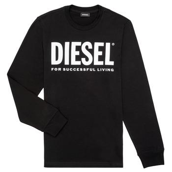 vaatteet Pojat T-paidat pitkillä hihoilla Diesel TJUSTLOGO ML Black