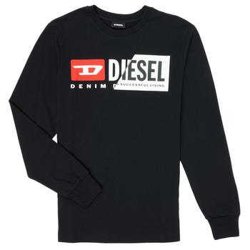 vaatteet Lapset T-paidat pitkillä hihoilla Diesel TDIEGOCUTY Musta