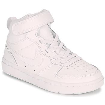 kengät Lapset Korkeavartiset tennarit Nike COURT BOROUGH MID 2 PS Valkoinen