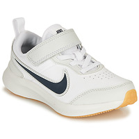 kengät Pojat Matalavartiset tennarit Nike VARSITY LEATHER PS White / Blue