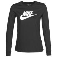 vaatteet Naiset T-paidat pitkillä hihoilla Nike W NSW TEE ESSNTL LS ICON FTR Black