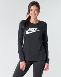 vaatteet Naiset T-paidat pitkillä hihoilla Nike W NSW TEE ESSNTL LS ICON FTR Musta