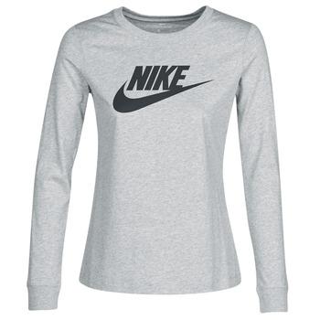 vaatteet Naiset T-paidat pitkillä hihoilla Nike W NSW TEE ESSNTL LS ICON FTR Grey