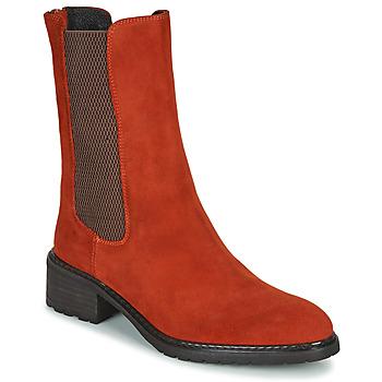 kengät Naiset Bootsit Regard DAMGAN V2 VELOURS CHATAIGNE Red