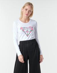 vaatteet Naiset T-paidat pitkillä hihoilla Guess LS CN VILMA TEE White