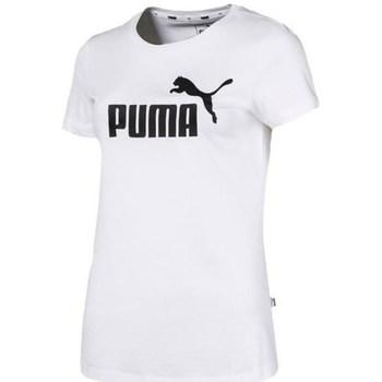 vaatteet Naiset Lyhythihainen t-paita Puma Ess Logo Tee Valkoiset