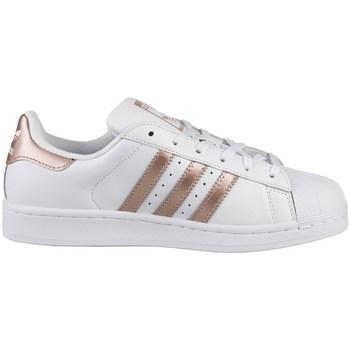 kengät Naiset Matalavartiset tennarit adidas Originals Superstar W Valkoiset,Kullanväriset