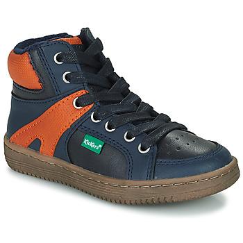 kengät Pojat Korkeavartiset tennarit Kickers Lowell Laivastonsininen / Orange