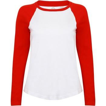 vaatteet Naiset T-paidat pitkillä hihoilla Skinni Fit SK271 White/Red