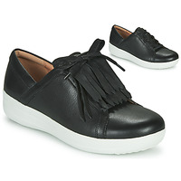 kengät Naiset Matalavartiset tennarit FitFlop F-SPORTY II LACE UP FRINGE SNEAKERS - LEATHER Black
