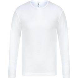 vaatteet Miehet T-paidat pitkillä hihoilla Absolute Apparel  White
