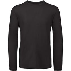 vaatteet Miehet T-paidat pitkillä hihoilla B And C TM070 Black