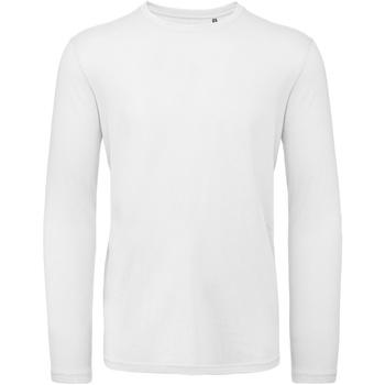 vaatteet Miehet T-paidat pitkillä hihoilla B And C TM070 White