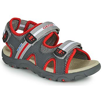 kengät Pojat Sandaalit ja avokkaat Geox JR SANDALE STRADA Grey / Red