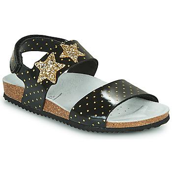 kengät Tytöt Sandaalit ja avokkaat Geox J ADRIEL GIRL Musta / Kulta