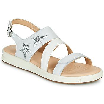 kengät Tytöt Sandaalit ja avokkaat Geox J SANDAL REBECCA GIR Valkoinen / Hopea