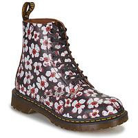 kengät Naiset Bootsit Dr Martens 1460 PASCAL Musta / Valkoinen / Punainen