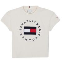 vaatteet Tytöt Lyhythihainen t-paita Tommy Hilfiger KG0KG05503-Z00-J Beige
