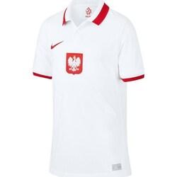 vaatteet Pojat Lyhythihainen poolopaita Nike JR Polska Breathe Home 2021 Valkoiset
