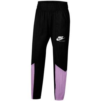 vaatteet Tytöt Verryttelyhousut Nike Sportswear Heritage Mustat, Violetit