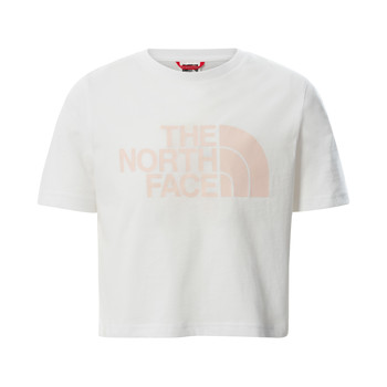 vaatteet Tytöt Lyhythihainen t-paita The North Face EASY CROPPED TEE Valkoinen