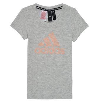 vaatteet Tytöt Lyhythihainen t-paita adidas Performance JG A MHE TEE Valkoinen