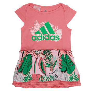 vaatteet Tytöt Lyhyt mekko adidas Performance FLOWER DRESS Vaaleanpunainen