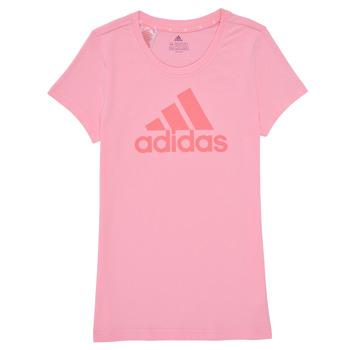 vaatteet Tytöt Lyhythihainen t-paita adidas Performance G BL T Vaaleanpunainen