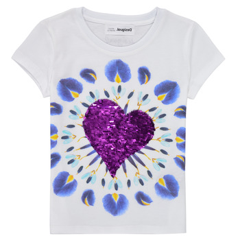 vaatteet Tytöt Lyhythihainen t-paita Desigual 21SGTK45-1000 Valkoinen