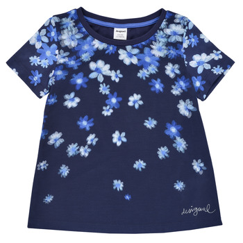 vaatteet Tytöt Lyhythihainen t-paita Desigual 21SGTK37-5000 Laivastonsininen
