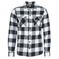 vaatteet Miehet Pitkähihainen paitapusero Dickies NEW SACRAMENTO SHIRT BLACK Musta / Valkoinen