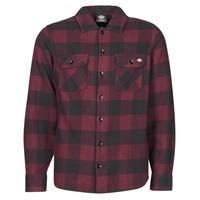 vaatteet Miehet Pitkähihainen paitapusero Dickies NEW SACRAMENTO SHIRT MAROON Viininpunainen / Musta