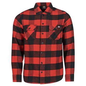 vaatteet Miehet Pitkähihainen paitapusero Dickies NEW SACRAMENTO SHIRT RED Punainen / Musta