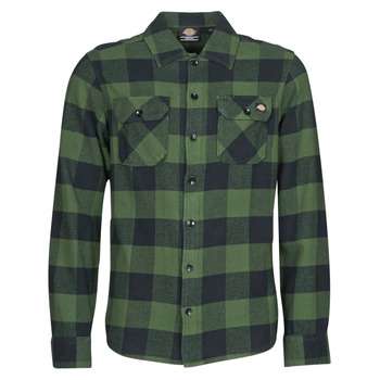 vaatteet Miehet Pitkähihainen paitapusero Dickies NEW SACRAMENTO SHIRT PINE GREEN Khaki / Musta