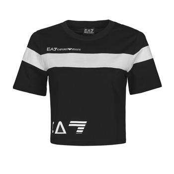 vaatteet Naiset Lyhythihainen t-paita Emporio Armani EA7 3KTT05-TJ9ZZ-1200 Musta / Valkoinen