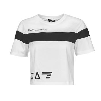 vaatteet Naiset Lyhythihainen t-paita Emporio Armani EA7 3KTT05-TJ9ZZ-1100 Valkoinen / Musta