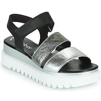 kengät Naiset Sandaalit ja avokkaat Gabor 6461061 Musta / Valkoinen / Hopea