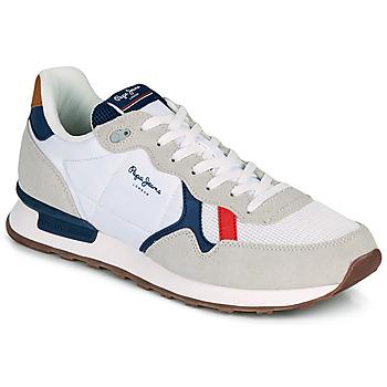 kengät Miehet Matalavartiset tennarit Pepe jeans BRITT MAN BASIC Valkoinen / Beige