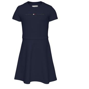 vaatteet Tytöt Lyhyt mekko Tommy Hilfiger KG0KG05789-C87 Laivastonsininen