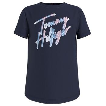 vaatteet Tytöt Lyhythihainen t-paita Tommy Hilfiger KG0KG05870-C87 Laivastonsininen
