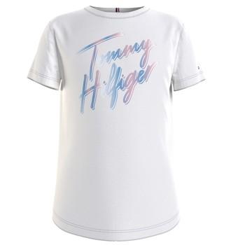 vaatteet Tytöt Lyhythihainen t-paita Tommy Hilfiger KG0KG05870-YBR Valkoinen