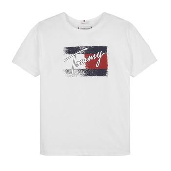vaatteet Tytöt Lyhythihainen t-paita Tommy Hilfiger MONCHE Valkoinen