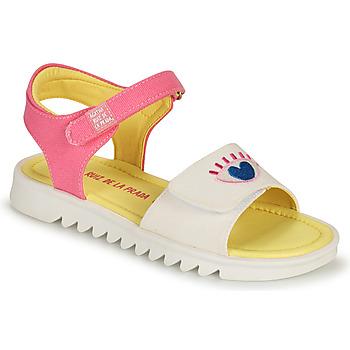 kengät Tytöt Sandaalit ja avokkaat Agatha Ruiz de la Prada SMILEY Valkoinen / Vaaleanpunainen