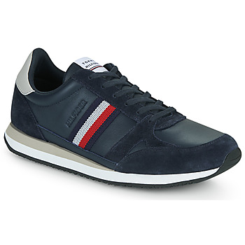 kengät Miehet Matalavartiset tennarit Tommy Hilfiger RUNNER LO LEATHER STRIPES Laivastonsininen