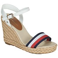 kengät Naiset Sandaalit ja avokkaat Tommy Hilfiger SHIMMERY RIBBON HIGH WEDGE Valkoinen