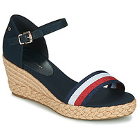 kengät Naiset Sandaalit ja avokkaat Tommy Hilfiger SHIMMERY RIBBON MID WEDGE SANDAL Laivastonsininen