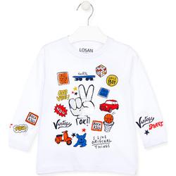 vaatteet Lapset T-paidat pitkillä hihoilla Losan 025-1026AL Valkoinen