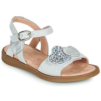 kengät Tytöt Sandaalit ja avokkaat Acebo's 5500SU-BLANCO Valkoinen / Hopea